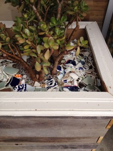 tumbled ceramics in a planter