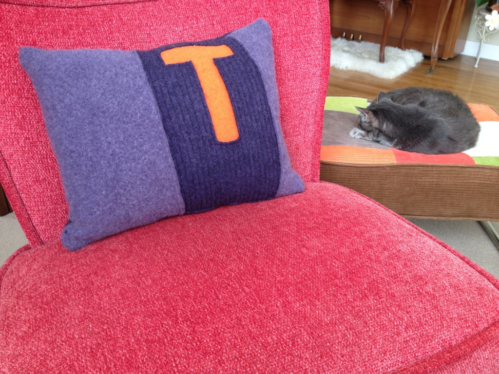 Felted sweater pillow