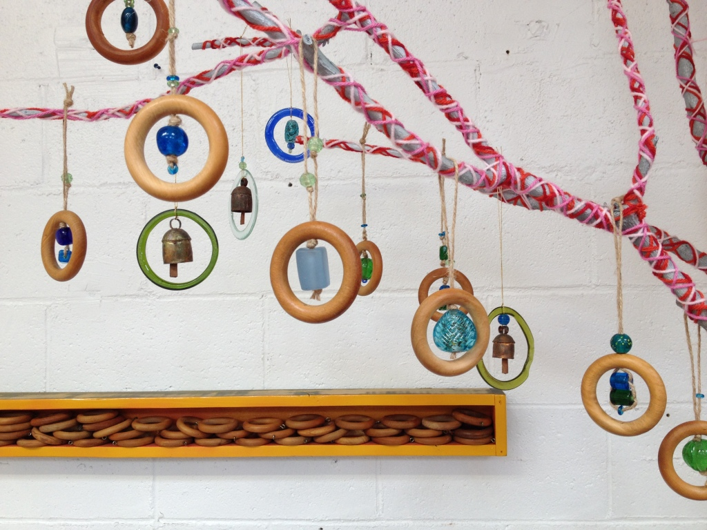 curtain ring ornaments with recycled glass