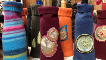 felted wine cozies