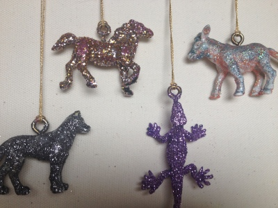 glitter animal christmas ornaments