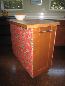 fabric covered kitchen island