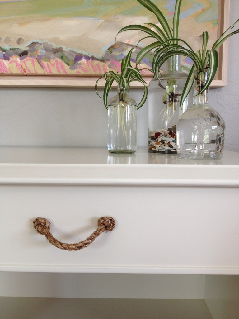 rope drawer pull and spider plants