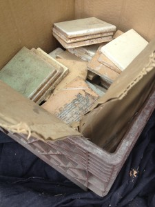 box of salvage tile